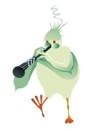 clarinet: green bird playing clarinet
