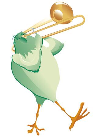 trombone: green bird playing trombone Illustration