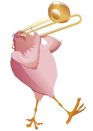 trombone: pink bird playing trombone