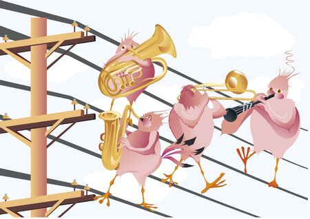 electric line: band of pink birds playing music on electric line