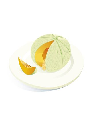 waterpolo: Melon in plate Illustration