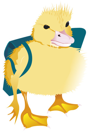 little girl bath: A duckling goes to the school Illustration