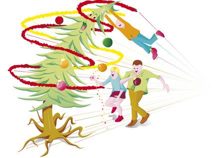 run away: Christmas tree of children run away