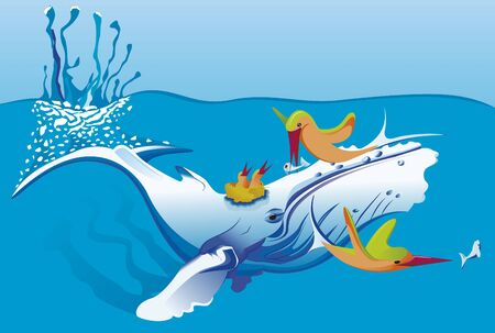 fishes: whale in the sea with strange fishes Illustration