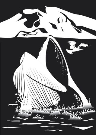 Whale emerging from the sea in black and white Illustration