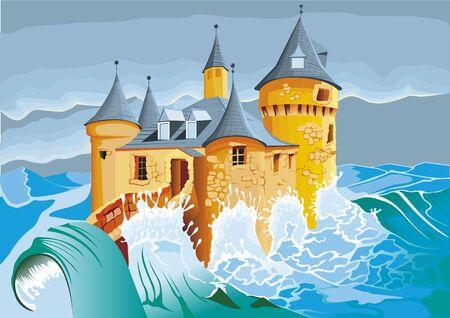 Castle in the sea Illustration
