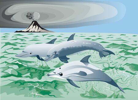 Three dolphins swimming near a volcano