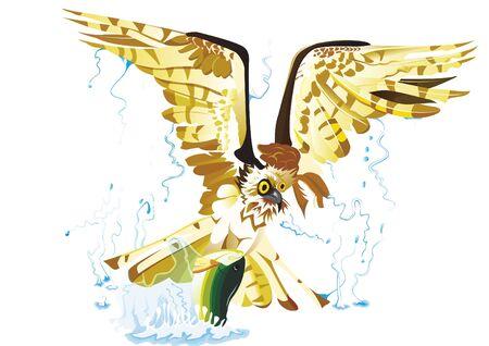 Osprey catch a big fish Illustration