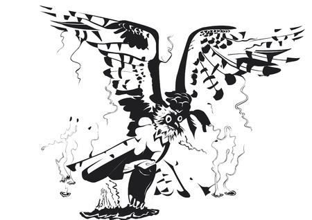 Osprey in black and white in water Illustration