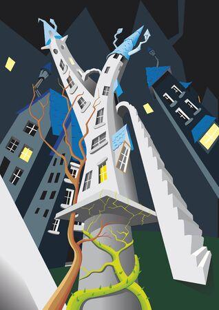 Torre nella città di notte illustrazione vettoriale. Archivio Fotografico - 87789752