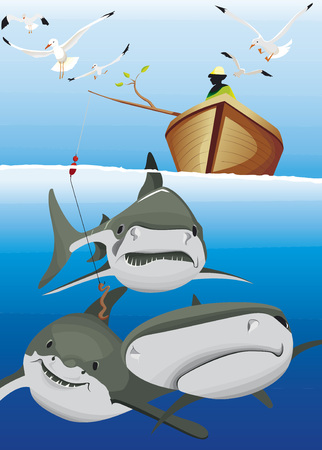 A fisherman try to catch some sharks with a worm Illustration