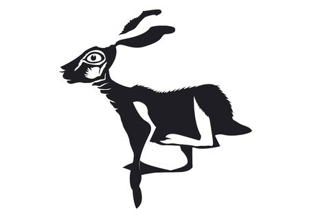 Rabbit alone is running Illustration
