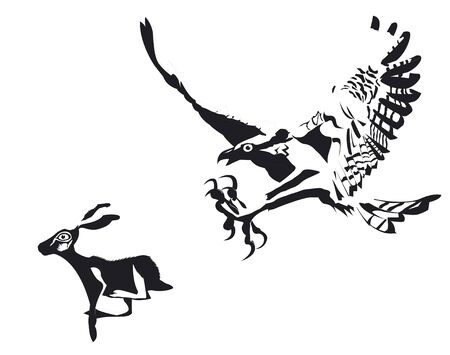 Eagle and rabbit in race Illustration