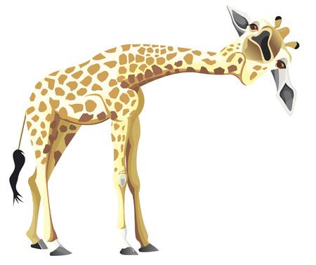 One leaning giraffe in color yellow Illusztráció