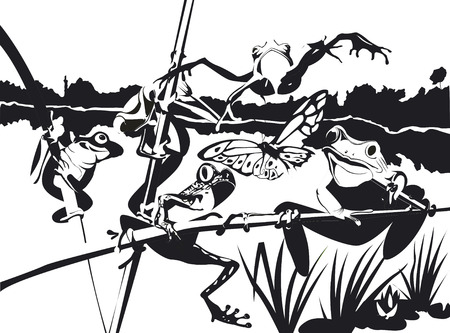 five frogs are climbing on a branch in black and white Illustration