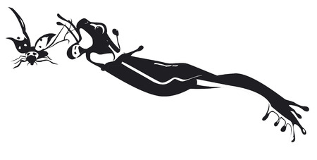 Black and white frogs design isolated illustration on white