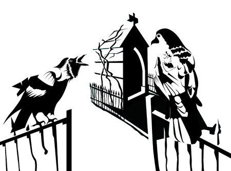 two crows in black and white Illustration