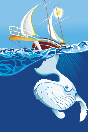 Whale under the sea with boat vector illustration. Stock Vector - 98533655