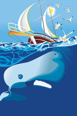 sperm whale in the sea Vector illustration.