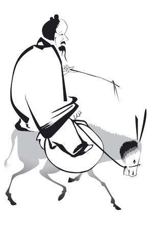 old chinese man on his mule Ilustração