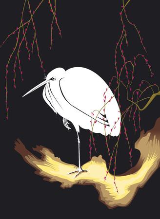 Egret of Ohara Koson in the night Иллюстрация