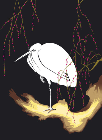 Egret of Ohara Koson in the night Illustration