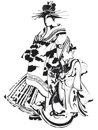 Geisha in black and white vector
