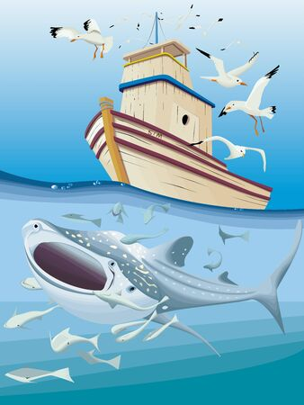 A small fisherman with big shark whale Çizim