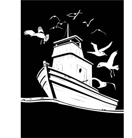 Fisher boat in black and white vector Illustration