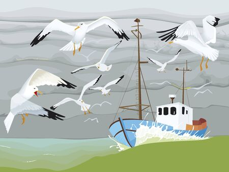 Fisher boat is sailing with seagulls who turn around it Ilustração