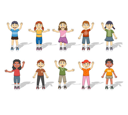 caucasian children: Set Of Ten Happy Kids expression  Illustration