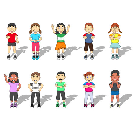 happy kids: Set Of Ten happy and laughing Kids expression Vector Illustration Illustration