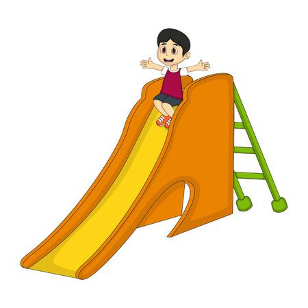 Little boy playing on a slide cartoon