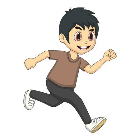 El niño pequeño de dibujos animados corriendo
