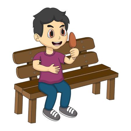 helado caricatura: Niño sentado en un banco de dibujos animados comer helado