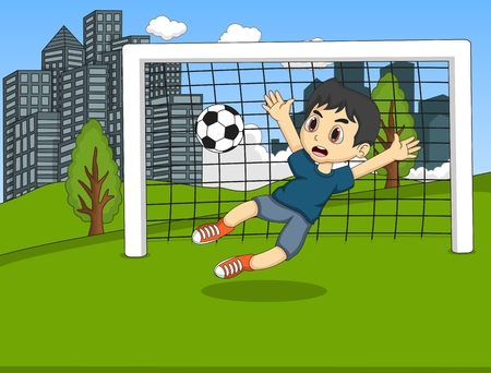 playing soccer: Kids playing soccer in the park cartoon