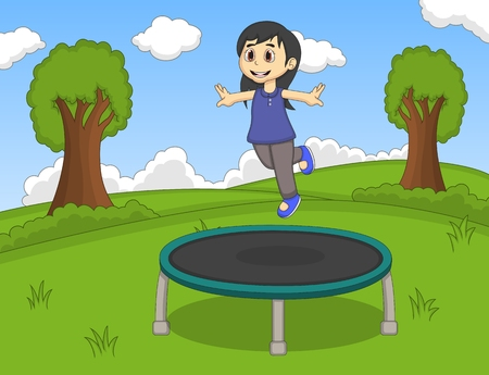 trampoline: Little girl playing trampoline at the park cartoon
