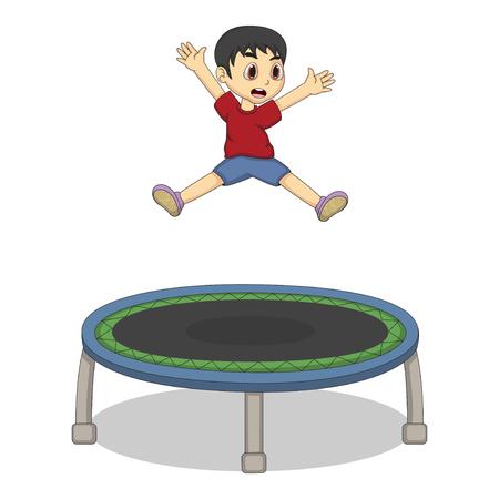 Ragazzino che gioca trampolino cartone animato