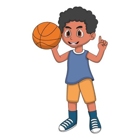 boy basketball: Little boy playing basketball cartoon