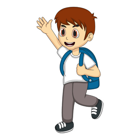 greet: Little boy carrying a backpack and waving his hand