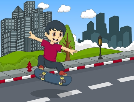 skateboard boy: Little boy playing skateboard Illustration