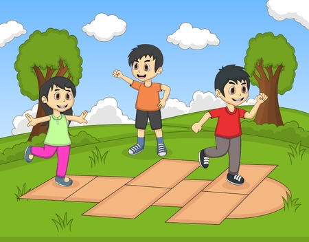 scotch: Children playing hopscotch at the park cartoon