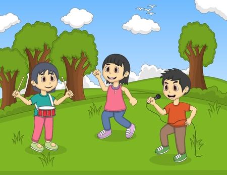 chicas bailando: Los niños que juegan música en el parque de dibujos animados ilustración vectorial Vectores