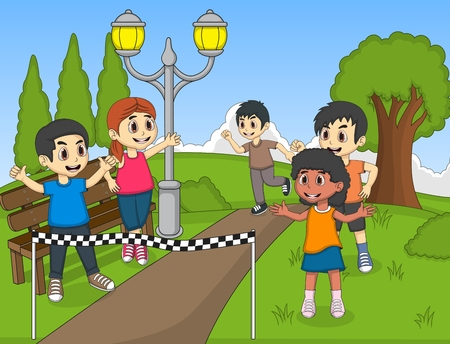 long distance: Children running in park cartoon vector illustration