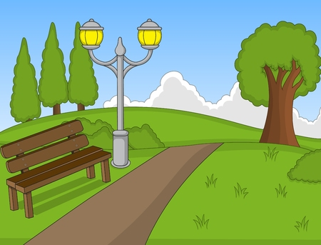 Park cartoon with bench