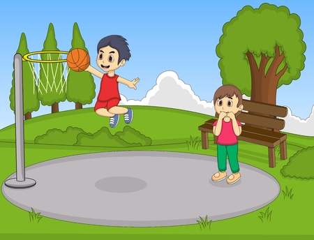 basketball cartoon: Kids playing basketball in the park
