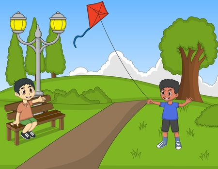 arboles caricatura: Niños jugando cometas en el parque Vectores