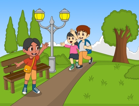 park: Children at the park cartoon