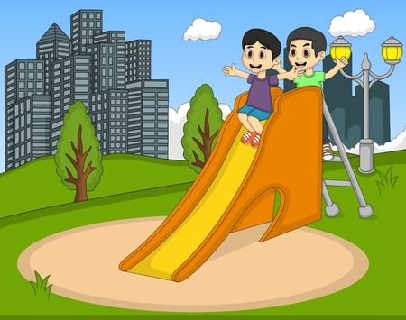 innocent girl: Children playing slide at the park Illustration