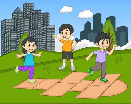 hopscotch: Children playing hopscotch at the park cartoon